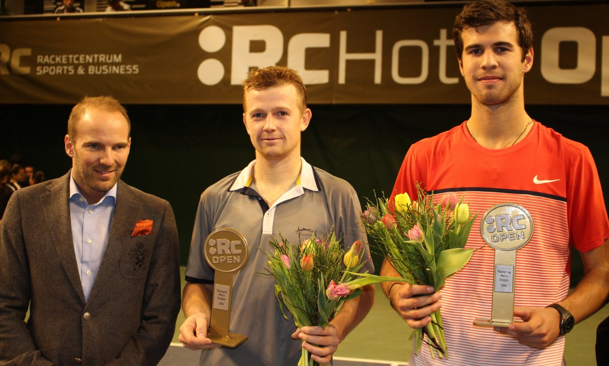 Tournament Director Martin Claesson together with winner Andrey Golubev and finlist Karen Khachanov.